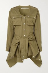 Alexander Wang Distressed Tie Front Cotton Twill Playsuit Army Green