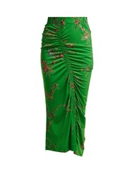 Preen By Thornton Bregazzi Tracy Floral Print Ruched Crepe Jersey Skirt Green Multi