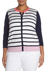 Plus Size Women's Halogen Three Quarter Sleeve Cardigan Ivory Navy Mercury Stripe
