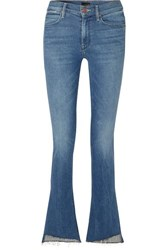 Mother The Runaway Frayed Mid Rise Flared Jeans Mid Denim