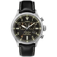 Timex Waterbury Chrono Watch Black And Black Leather