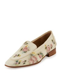 Alin Floral Embroidered Raffia Loafer Natural Paint