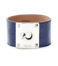 Fendi Crocodile Leather Cuff Blue
