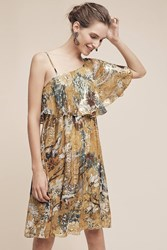 Anthropologie Blooming Ruffled Sleeve Dress Green Motif