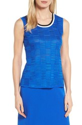 Ming Wang 'S Contrast Neck Basket Weave Tank Patriot Blue Black White