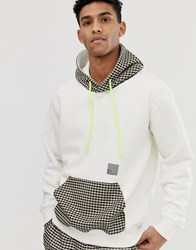 Criminal Damage White Hoodie With Check Detail Beige