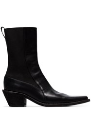 Haider Ackermann Black Ela 50 Leather Ankle Boots