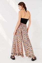 Urban Outfitters Uo Electra Sequin Wide Leg Pant Bright Orange