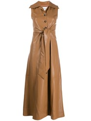 Nanushka Faux Leather Midi Dress Brown