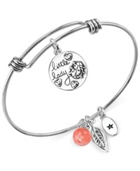 Unwritten Ladybug Charm And Cherry Quartz 8Mm Adjustable Bangle Bracelet In Stainless Steel