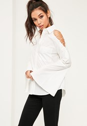 Missguided White Lace Up Sleeve Shirt
