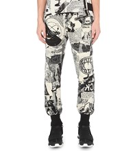 Ktz Newspaper Print Cotton Jogging Bottoms Beige Black