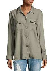 Rails Everett Linen Blend Solid Shirt Sage