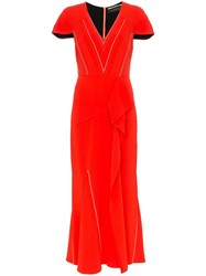 Roland Mouret Bates Stretch V Neck Ruffle Detail Dress Red