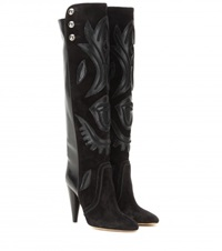 Isabel Marant Raven Embellished Suede And Leather Knee High Boots Black