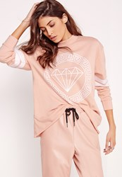 Missguided Diamond Front Print Sweatshirt Nude Beige