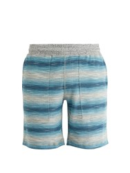 Faherty Reversible Striped Cotton Shorts Blue