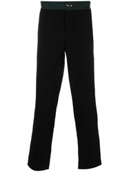 Mr And Mrs Italy Contrast Waist Band Trousers Men Cotton Lyocell Virgin Wool 48 Black