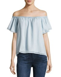Philosophy Ruffled Off The Shoulder Top Light Blue
