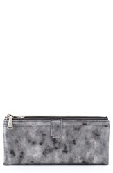 Hobo 'Taylor' Glazed Leather Wallet Grey Smoke