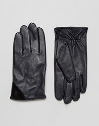 Barney's Barneys Navy Leather With Contrast Black Suede Trim Gloves Navy