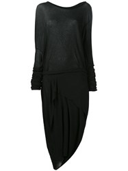 Barbara I Gongini Longsleeves Asymmetric Dress Black