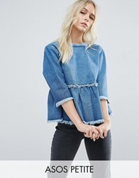 Asos Petite Denim Smock Top With Wrap Back In Vintage Wash Indigo Blue
