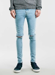 Topman Light Blue Ripped Spray On Skinny Jeans