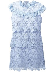 Giamba Layered Lace Dress Blue