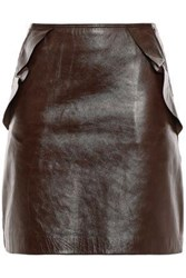 Sandro Woman Ruffle Trimmed Leather Mini Skirt Brown