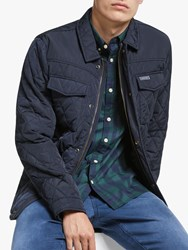 Scotch And Soda Quilted Shirt Jacket Navy