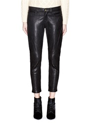 Frame Denim 'Le Garcon' Leather Pants Black