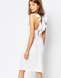 Lost Ink Ruffle Dress With Lace Up Back Detail White