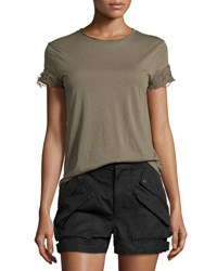 Helmut Lang Distressed Sleeve Jersey Tee Army