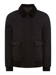 Label Lab Nicholas Wool Bomber Jacket Charcoal