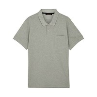 Jaeger Supima Cotton Polo Shirt Grey Melange