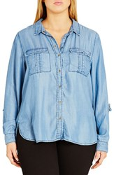 City Chic Plus Size Women's 'Miss Military' Denim Shirt