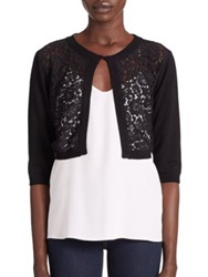Harrison Morgan Lace Front Knit Bolero Black