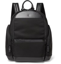 Montblanc Nightflight Leather Trimmed Nylon Backpack Black