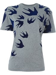 Mcq By Alexander Mcqueen Swallow Swarm Patch T Shirt Grey