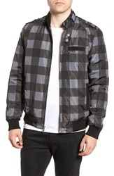Members Only Iconic Check Racer Jacket Dark Grey