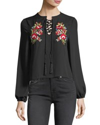 Haute Rogue Long Sleeve Embroidered Lace Up Blouse Black