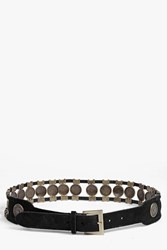 Boohoo Suede Coin Festival Belt Black