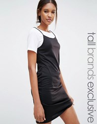 One Day Tall 2 In 1 Contrast T Shirt Dress Black