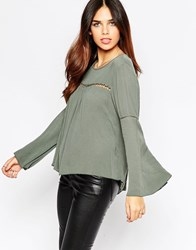 Wal G Top With Cut Out Detail Khaki