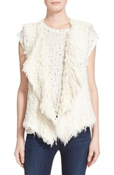 Women's Iro Fuzzy Cotton Blend Knit Vest Ecru