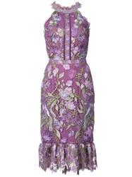 Marchesa Notte Fitted Lace Flower Dress Pink And Purple