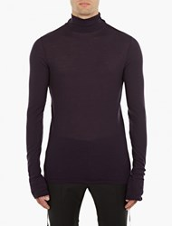 Lanvin Plum Fine Knit Roll Neck Sweater