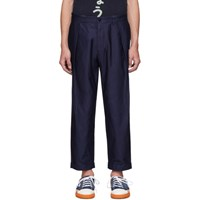 Blue Blue Japan Navy High Density Satin Trousers