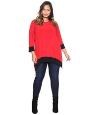 Calvin Klein Plus Size Long Sleeve Color Block Sharkbite Top Rouge Women's Long Sleeve Pullover Red